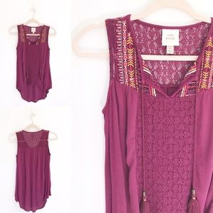 Knox Rose Burgundy Embroidered Boho Tank Top